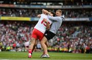 11 September 2021; Tyrone players Darren McCurry, hidden, Conor McKenna and Michael Conroy, right, celebrate following the final whistle of the GAA Football All-Ireland Senior Championship Final match between Mayo and Tyrone at Croke Park in Dublin. Photo by Stephen McCarthy/Sportsfile