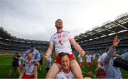11 September 2021; Tyrone players Cathal McShane, 24, and Kieran McGeary celebrate following the GAA Football All-Ireland Senior Championship Final match between Mayo and Tyrone at Croke Park in Dublin. Photo by Stephen McCarthy/Sportsfile