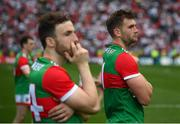 11 September 2021; Mayo players Aidan O'Shea, right, and Darren Coen following the GAA Football All-Ireland Senior Championship Final match between Mayo and Tyrone at Croke Park in Dublin. Photo by Stephen McCarthy/Sportsfile