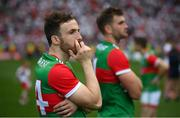 11 September 2021; Mayo players Darren Coen, left, and Aidan O'Shea following the GAA Football All-Ireland Senior Championship Final match between Mayo and Tyrone at Croke Park in Dublin. Photo by Stephen McCarthy/Sportsfile