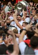 11 September 2021; Tyrone captain Pádraig Hampsey lifts the Sam Maguire Cup following the GAA Football All-Ireland Senior Championship Final match between Mayo and Tyrone at Croke Park in Dublin. Photo by Stephen McCarthy/Sportsfile