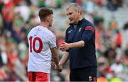11 September 2021; Mayo manager James Horan congratulates Conor Meyler of Tyrone after the GAA Football All-Ireland Senior Championship Final match between Mayo and Tyrone at Croke Park in Dublin. Photo by Brendan Moran/Sportsfile
