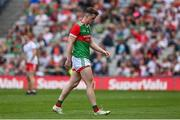 11 September 2021; Matthew Ruane of Mayo leaves the pitch after being shown a red card during the GAA Football All-Ireland Senior Championship Final match between Mayo and Tyrone at Croke Park in Dublin. Photo by Brendan Moran/Sportsfile