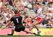 11 September 2021; Darragh Canavan of Tyrone has a shot on goal saved by Mayo goalkeeper Rob Hennelly during the GAA Football All-Ireland Senior Championship Final match between Mayo and Tyrone at Croke Park in Dublin. Photo by Brendan Moran/Sportsfile