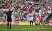 11 September 2021; Conn Kilpatrick of Tyrone is shown a yellow card by referee Joe McQuillan during the GAA Football All-Ireland Senior Championship Final match between Mayo and Tyrone at Croke Park in Dublin. Photo by Brendan Moran/Sportsfile