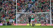 11 September 2021; Tyrone goalkeepr Niall Morgan celebrates as Ryan O'Donoghue of Mayo and Mayo supporters behind the goal react to a missed penalty during the GAA Football All-Ireland Senior Championship Final match between Mayo and Tyrone at Croke Park in Dublin. Photo by Brendan Moran/Sportsfile