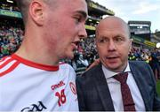 11 September 2021; Former Tyrone captain and Sky Sports GAA pundit Peter Canavan celebrates with his son Darragh Canavan after the GAA Football All-Ireland Senior Championship Final match between Mayo and Tyrone at Croke Park in Dublin. Photo by Brendan Moran/Sportsfile