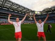 11 September 2021; Brian Kennedy, left, and Conn Kilpatrick of Tyrone celebrate with the Sam Maguire Cup following the GAA Football All-Ireland Senior Championship Final match between Mayo and Tyrone at Croke Park in Dublin. Photo by Stephen McCarthy/Sportsfile