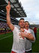 11 September 2021; Darren McCurry and Ronan O'Neill, right, of Tyrone celebrate following the GAA Football All-Ireland Senior Championship Final match between Mayo and Tyrone at Croke Park in Dublin. Photo by Stephen McCarthy/Sportsfile