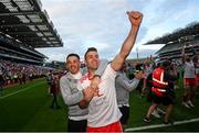 11 September 2021; Darren McCurry and Ronan O'Neill, left, of Tyrone celebrate following the GAA Football All-Ireland Senior Championship Final match between Mayo and Tyrone at Croke Park in Dublin. Photo by Stephen McCarthy/Sportsfile