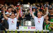 11 September 2021; Kieran McGeary, left, and Hugh Pat McGeary of Tyrone lift the Sam Maguire Cup following the GAA Football All-Ireland Senior Championship Final match between Mayo and Tyrone at Croke Park in Dublin. Photo by Stephen McCarthy/Sportsfile