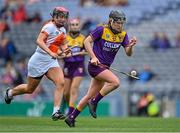 12 September 2021; Ailis Neville of Wexford in action against Gemma McCann of Armagh during the All-Ireland Premier Junior Camogie Championship Final match between Armagh and Wexford at Croke Park in Dublin. Photo by Piaras Ó Mídheach/Sportsfile