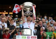 11 September 2021; Brian Kennedy of Tyrone lifts the Sam Maguire Cup following the GAA Football All-Ireland Senior Championship Final match between Mayo and Tyrone at Croke Park in Dublin. Photo by Stephen McCarthy/Sportsfile