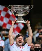 11 September 2021; Conor McKenna of Tyrone lifts the Sam Maguire Cup following the GAA Football All-Ireland Senior Championship Final match between Mayo and Tyrone at Croke Park in Dublin. Photo by Stephen McCarthy/Sportsfile