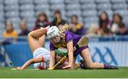 12 September 2021; Ciara Hill of Armagh is tackled by Ciara Donohoe of Wexford during the All-Ireland Premier Junior Camogie Championship Final match between Armagh and Wexford at Croke Park in Dublin. Photo by Piaras Ó Mídheach/Sportsfile