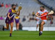 12 September 2021; Megan Cullen of Wexford in action against Gráinne McWilliams of Armagh during the All-Ireland Premier Junior Camogie Championship Final match between Armagh and Wexford at Croke Park in Dublin. Photo by Piaras Ó Mídheach/Sportsfile