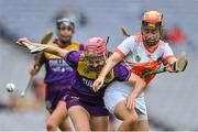 12 September 2021; Ciara Banville of Wexford in action against Caella Casey of Armagh during the All-Ireland Premier Junior Camogie Championship Final match between Armagh and Wexford at Croke Park in Dublin. Photo by Piaras Ó Mídheach/Sportsfile