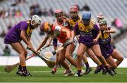12 September 2021; Players of both sides contest possession during the All-Ireland Premier Junior Camogie Championship Final match between Armagh and Wexford at Croke Park in Dublin. Photo by Ben McShane/Sportsfile