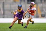 12 September 2021; Emma Codd of Wexford in action against Stephanie Curry of Armagh during the All-Ireland Premier Junior Camogie Championship Final match between Armagh and Wexford at Croke Park in Dublin. Photo by Ben McShane/Sportsfile