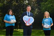 13 September 2021; Leinster Rugby have this morning announced Cardiac Risk in the Young (CRY) as its latest charity affiliate. CRY were nominated by BearingPoint, one of Leinster Rugby's premium partners, and over the month of September, Leinster Rugby will be highlighting the great work of CRY across its digital and social platforms. In attendance at the announcement were, from left, Chair of CRY Ireland Noelle Condon, Leinster Rugby Head of Commercial and Marketing Kevin Quinn and BearingPoint head of HR Deirdre Hanley. For further information please check out cry.ie or leinsterrugby.ie Photo by Harry Murphy/Sportsfile