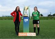 14 September 2021; TG4 presenter Máire Treasa Ní Cheallaigh with Alannah McEvoy of Peamount United during the TG4 Women's National League Photocall at FAINT in Abbotstown, Dublin. Photo by Piaras Ó Mídheach/Sportsfile