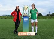 14 September 2021; TG4 presenter Máire Treasa Ní Cheallaigh with Eva Mangan of Cork City during the TG4 Women's National League Photocall at FAINT in Abbotstown, Dublin. Photo by Piaras Ó Mídheach/Sportsfile