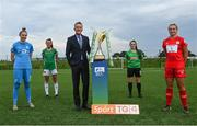 14 September 2021; FAI Chief Executive Officer Jonathan Hill with players, from left, Jessica Gleeson of DLR Waves, Eva Mangan of Cork City, Alannah McEvoy of Peamount United and Saoirse Noonan of Shelbourne during the TG4 Women's National League Photocall at FAINT in Abbotstown, Dublin. Photo by Piaras Ó Mídheach/Sportsfile