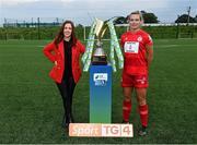 14 September 2021; TG4 presenter Máire Treasa Ní Cheallaigh with Saoirse Noonan of Shelbourne during the TG4 Women's National League Photocall at FAINT in Abbotstown, Dublin. Photo by Piaras Ó Mídheach/Sportsfile