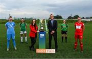 14 September 2021; FAI Chief Executive Officer Jonathan Hill and TG4 presenter Máire Treasa Ní Cheallaigh with players, from left, Jessica Gleeson of DLR Waves, Eva Mangan of Cork City, Alannah McEvoy of Peamount United and Saoirse Noonan of Shelbourne during the TG4 Women's National League Photocall at FAINT in Abbotstown, Dublin. Photo by Piaras Ó Mídheach/Sportsfile