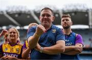 12 September 2021; Wexford manager Alan Brennan celebrates after the All-Ireland Premier Junior Camogie Championship Final match between Armagh and Wexford at Croke Park in Dublin. Photo by Ben McShane/Sportsfile