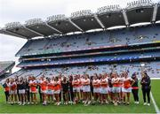 12 September 2021; Armagh players after side's defeat in the All-Ireland Premier Junior Camogie Championship Final match between Armagh and Wexford at Croke Park in Dublin. Photo by Piaras Ó Mídheach/Sportsfile