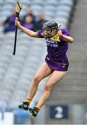 12 September 2021; Aoife Dunne of Wexford celebrates after her side's victory in the All-Ireland Premier Junior Camogie Championship Final match between Armagh and Wexford at Croke Park in Dublin. Photo by Piaras Ó Mídheach/Sportsfile