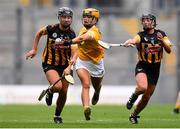 12 September 2021; Maeve Kelly of Antrim in action against Tiffanie Fitzgerald, left, and Sarah Walsh of Kilkenny during the All-Ireland Intermediate Camogie Championship Final match between Antrim and Kilkenny at Croke Park in Dublin. Photo by Ben McShane/Sportsfile