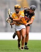 12 September 2021; Maeve Kelly of Antrim in action against Tiffanie Fitzgerald of Kilkenny during the All-Ireland Intermediate Camogie Championship Final match between Antrim and Kilkenny at Croke Park in Dublin. Photo by Ben McShane/Sportsfile