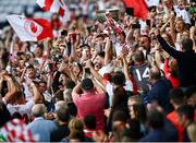 11 September 2021; Pádraig Hampsey of Tyrone lifts the Sam Maguire cup following the GAA Football All-Ireland Senior Championship Final match between Mayo and Tyrone at Croke Park in Dublin. Photo by David Fitzgerald/Sportsfile