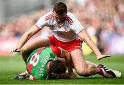 11 September 2021; Matthew Ruane of Mayo in action against Brian Kennedy of Tyrone during the GAA Football All-Ireland Senior Championship Final match between Mayo and Tyrone at Croke Park in Dublin. Photo by David Fitzgerald/Sportsfile