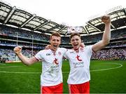 11 September 2021; Peter Harte, left, and Conor Meyler of Tyrone celebrate after the GAA Football All-Ireland Senior Championship Final match between Mayo and Tyrone at Croke Park in Dublin. Photo by David Fitzgerald/Sportsfile