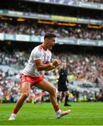 11 September 2021; Michael McKernan of Tyrone celebrates after Mayo kicked a late wide during the GAA Football All-Ireland Senior Championship Final match between Mayo and Tyrone at Croke Park in Dublin. Photo by David Fitzgerald/Sportsfile