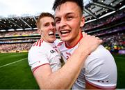 11 September 2021; Michael McKernan, right, and Peter Harte of Tyrone celebrate after the GAA Football All-Ireland Senior Championship Final match between Mayo and Tyrone at Croke Park in Dublin. Photo by David Fitzgerald/Sportsfile