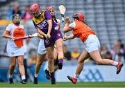 12 September 2021; Ciara Banville of Wexford in action against Nicola Woods of Armagh during the All-Ireland Premier Junior Camogie Championship Final match between Armagh and Wexford at Croke Park in Dublin. Photo by Piaras Ó Mídheach/Sportsfile