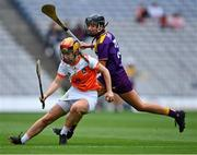12 September 2021; Caella Casey of Armagh in action against Megan Cullen of Wexford during the All-Ireland Premier Junior Camogie Championship Final match between Armagh and Wexford at Croke Park in Dublin. Photo by Piaras Ó Mídheach/Sportsfile