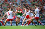 11 September 2021; Ryan O'Donoghue of Mayo in action against Tyrone players, from left, Peter Harte, Frank Burns, Michael McKernan and Ronan McNamee during the GAA Football All-Ireland Senior Championship Final match between Mayo and Tyrone at Croke Park in Dublin. Photo by Stephen McCarthy/Sportsfile