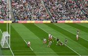 11 September 2021; Conor Loftus of Mayo has a shot on goal blocked by Niall Sludden of Tyrone during the GAA Football All-Ireland Senior Championship Final match between Mayo and Tyrone at Croke Park in Dublin. Photo by Stephen McCarthy/Sportsfile