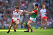 11 September 2021; Conor Meyler of Tyrone in action against Conor Loftus of Mayo during the GAA Football All-Ireland Senior Championship Final match between Mayo and Tyrone at Croke Park in Dublin. Photo by Stephen McCarthy/Sportsfile