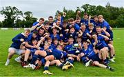 12 September 2021; The Leinster team celebrate winning the U18 Schools Interprovincial Championship after the PwC U18 Men's Interprovincial Championship Round 2 match between Leinster and Munster at MU Barnhall in Leixlip, Kildare. Photo by Brendan Moran/Sportsfile