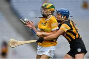 12 September 2021; Aine Magill of Antrim is tackled by Ciara Murphy of Kilkenny during the All-Ireland Intermediate Camogie Championship Final match between Antrim and Kilkenny at Croke Park in Dublin. Photo by Piaras Ó Mídheach/Sportsfile