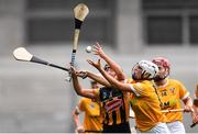 12 September 2021; Sarah Walsh of Kilkenny in action against Nicole O'Neill of Antrim during the All-Ireland Intermediate Camogie Championship Final match between Antrim and Kilkenny at Croke Park in Dublin. Photo by Ben McShane/Sportsfile
