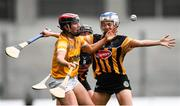 12 September 2021; Caoimhe Conlon of Antrim contests a loose sliotar against Danielle Quigley, right, and Sarah Walsh of Kilkenny during the All-Ireland Intermediate Camogie Championship Final match between Antrim and Kilkenny at Croke Park in Dublin. Photo by Ben McShane/Sportsfile