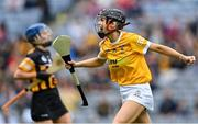 12 September 2021; Catrine Dobbin of Antrim celebrates scoring her side's second goal during the All-Ireland Intermediate Camogie Championship Final match between Antrim and Kilkenny at Croke Park in Dublin. Photo by Piaras Ó Mídheach/Sportsfile