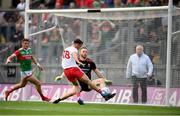 11 September 2021; Darragh Canavan of Tyrone has a shot on goal saved by Mayo goalkeeper Rob Hennelly during the GAA Football All-Ireland Senior Championship Final match between Mayo and Tyrone at Croke Park in Dublin. Photo by Stephen McCarthy/Sportsfile